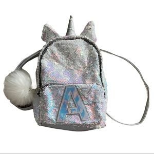Justice sequins unicorn initial A kids backpack